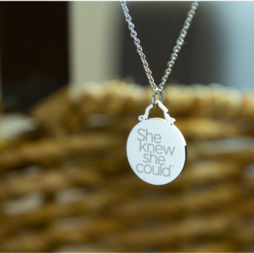 Power Necklace- SHE KNEW SHE COULD-Silver tone